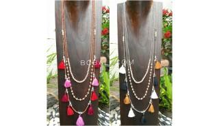 2color multiple tassels necklace bead fashion women design 2017