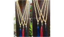 3color mala wood white necklace tassel buddha chrome prayer