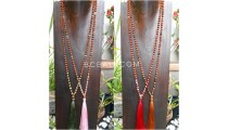 4color tassels necklace radraksha pendant with agate bead stone