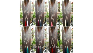 60pieces free shipping tassels long strand wooden beige color Mix