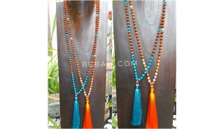 4color radraksha beads tassels necklace with glass beads