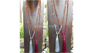 4color radraksha mala tassels necklace with glass beads