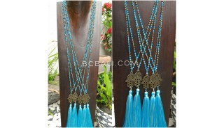 hamsa hand bronze pendant tassels necklace crystal bead 2color