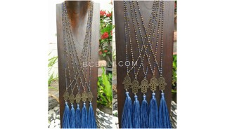 bronze hamsa hand pendant tassels necklace crystal bead 2color
