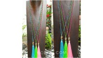 buddha head chrome gold tassels necklaces crystal beads 3color