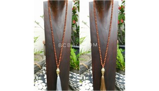 buddha head full rudraksha bead wood necklaces tassel pendant