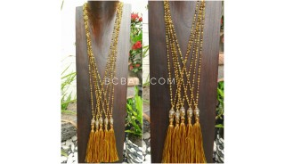buddha head chrome gold tassels necklaces crystal beaded 3 color