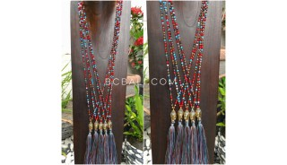 buddha head chrome gold tassel necklaces crystal beads fashion