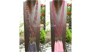 hamsa hand pendant tassels necklace crystal bead 2color shown