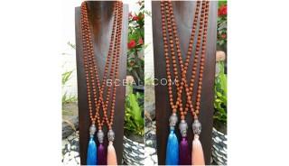 3color large buddha head silver chrome necklace radraksha prayer