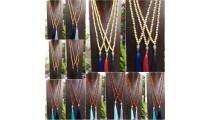 wholesale free shipping mala wooden necklace tassel buddha head