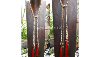 mono strand 2color long tassels wood necklaces scarf design