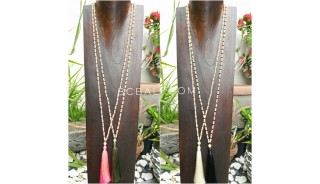 wood beige bead tassels necklace 4color ethnic balinese design