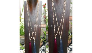 wood beige natural bead tassels necklace 4color ethnic design
