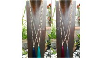 wooden beige bead tassels necklace 4color ethnic bali design