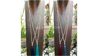 wooden beige bead tassels necklace 4color ethnic bali design