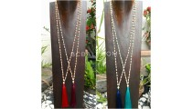 wooden beige bead tassels necklace long seeds 4color ethnic design