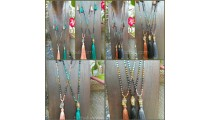 buddha head tassels necklaces larva stone bead bali wholesale 50 pieces shipping free