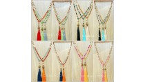 ceramic glass beads colorful necklace tassels free shipping 40 pieces