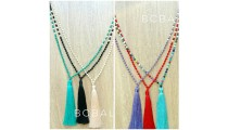 fashion necklace tassels bead crystal mix colorful wholesale alot free shipping