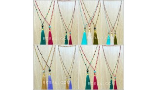 ceramic glass beads tassels necklace mix color wholesale price 50 pieces