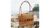 ethnic home made shopping handbags straw ata rattan bali