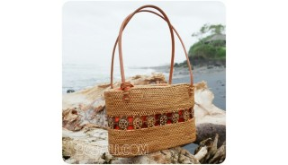 bali handwoven straw grass handbag unique style fabrik lining