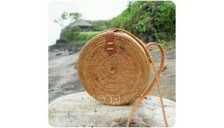 circle ratta straw sling bags motif large size full handmade