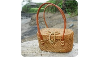 coin bags straw rattan ethnic handmade handwoven bali