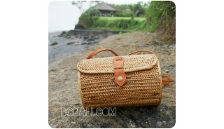 cylinder sling bags rattan straw grass classic natural