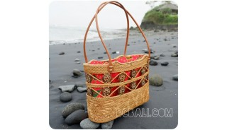 ethnic homemade shopping handbags straw ata rattan bali