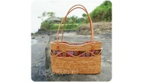 natural handmade rattan shopping handbags leather handle