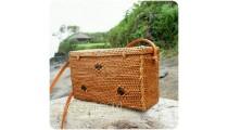 natural organic straw rattan sling bags sequare design motif