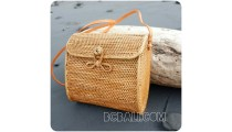passport sling bags rattan leather with flower clip