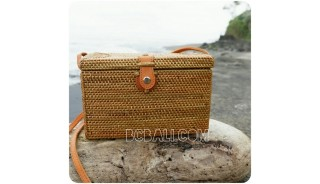 sling women cosmetic bags rattan sequare full handwoven classic design