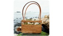 unique women handbags straw rattan handwoven fabrik