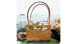 unique women handbags straw rattan handwoven fabrik