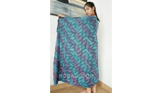 bali fashion handmade rayon batik sarongs hand stamp feather motif