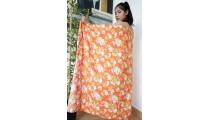 bali handmade rayon batik sarongs fabric printing orange color