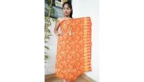 bali handmade rayon batik sarongs hand stamp ethnic orange color