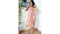 bali handmade rayon batik sarongs pareo hand stamp abstract design