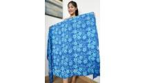 handmade rayon batik sarongs pareo hand stamp blue flower