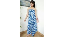 rayon sarong pareo hand printing one side flower pattern blue color