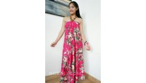 rayon sarong pareo hand printing one side flower pattern hot pink