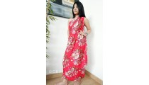 rayon sarong pareo hand printing one side flower pattern red