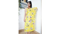 rayon sarong pareo hand printing one side flower pattern yellow color
