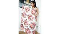 rayon sarong pareo hand printing one side multiple flower pattern