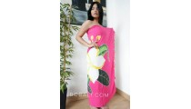 rayon sarongs hand painting flower hot pink color made in bali