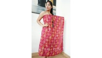 sarongs pareo rayon batik hand stamp red color made in bali