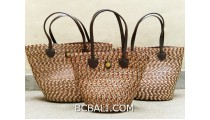 bali straw woven handbag handmade brown color set 3